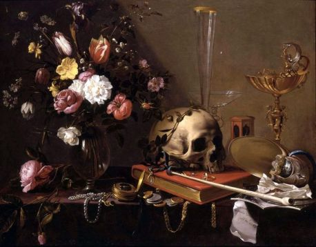 1024px-Adriaen_van_Utrecht-_Vanitas_-_Still_Life_with_Bouquet_and_Skull