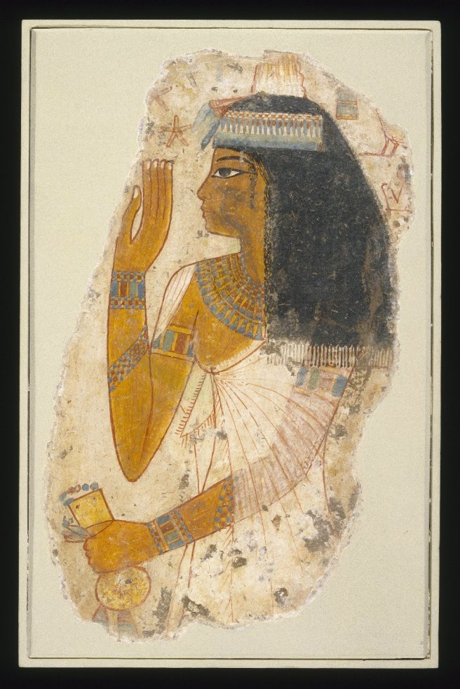 Lady Tjepu, ca. 1390-1353 B.C.E. Limestone, gessoed and painted, 14 13/16 x 9 7/16 in. (37.6 x 24 cm). Brooklyn Museum, Charles Edwin Wilbour Fund, 65.197