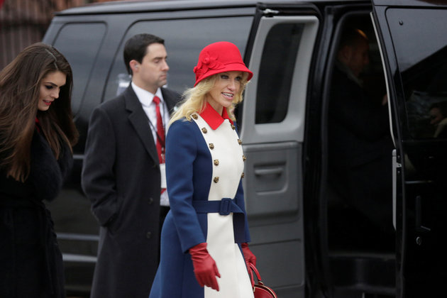 Kellyanne Conway departs for a church service before the 58th Presidential Inauguration in Washington
